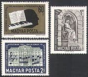 Hungary 1961 Franz Liszt  /  Music  /  Composers  /  Statue  /  Piano  /  Buildings 3v (n34708)