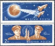 "Hungary 1962 ""Team"" Manned Space Flights/ Vostok 3/ Vostok 4/ Astronauts/ Cosmonauts/ Earth 2v set pr (n28523)"