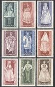 Hungary 1963 Provincial Costumes  /  Clothes  /  Textiles  /  Design 9v set (n39957)