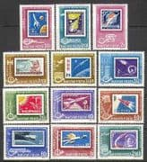 Hungary 1963 Space  /  Laika  /  Dog  /  Gagarin  /  Rockets  /  Stamp-on Stamp 12v set (n24046)
