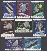 Hungary 1963 Space  /  Rockets  /  Satellites  /  Science  /  Research  /  Transport 8v set (n34949)