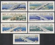 Hungary 1964 Bridges  /  Road  /  Rail  /  Trains  /  Trams  /  Bus  /  Transport  /  Buildings 7v (n35475)
