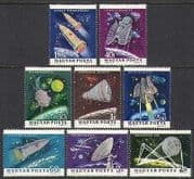 Hungary 1964 Space  /  Rockets  /  Planets  /  Radio  /  Telstar  /  Vostok  /  Transport 8v set n24051