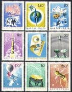 Hungary 1965 Quiet Sun  /  Penguins  /  Helicopter  /  Antarctic  /  Rockets  /  Aurora 9v (n34443)