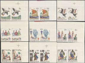 Hungary 1965  Stories/ Tales/ Horse/ Birds/ Ship/ Animals  2 x 9v set IMPERF PAIRS (n34959a)