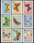Hungary 1966 Butterflies  /  Moths  /  Insects  /  Nature  /  Butterfly  /  Animation 9v set n36725