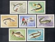 Hungary 1967 Fish  /  Fishing  /  Angling  /  Sport  /  Carp  /  Pike  /  Sterlet  /  Nature 7v set (n39923)
