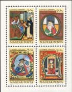 Hungary 1970 Stamp Day/ Royalty/ King/Queen/ Art/ Illuminated Initials 4v m/s (hx1018)