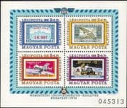 Hungary 1974 Aerofila '74 Stamp Exhibition/ Apollo/ Soyuz/ Space/ Icarus/ Aviation/ Stamp-on-Stamp/ S-on-S/ StampEx 4v m/s (n44698)