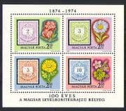 Hungary 1974 Flowers  /  Stamp-on-Stamp  /  Nature m  /  s (n32370)