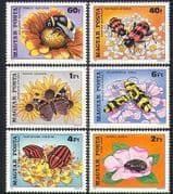 Hungary 1980 Bee  /  Beetles  /  Insects  /  Butterflies  /  Pollination  /  Flowers 6v set (n34457)