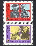 Hungary 1982 Workers Militia  /  Military  /  Army  /  Shooting  /  Rifle  /  Weapons 2v set  n36951