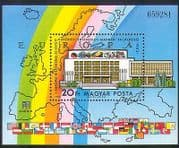 Hungary 1983 Co-operation  /  Buildings  /  Architecture  /  Rainbow  /  Flags  /  Map 1v m  /  s n34985