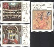 Hungary 1984 Opera House/ Art/ Building/ Architecture/ Music/ Fresco/ Painting 3v set (n20905)