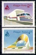 Hungary 1985 Monorail Train  /  Transport  /  Rail  /  railways  /  Buildings  /  Expo 2v set n29405