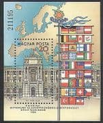Hungary 1986 European Security  /  Palace  /  Buildings  /  Architecture  /  Flags 1v m  /  s n35544