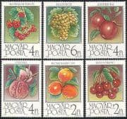 Hungary 1986 Grapes  /  Apples  /  Fruit  /  Crops  /  Farming  /  Food  /  Plants  /  Nature 6v set n40278