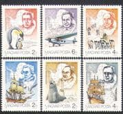 Hungary 1987 Antarctic  /  Penguins  /  Dogs  /  Planes  /  Sailing Ships  /  Transport 6v (b10018)