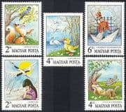 Hungary 1987 Fairy Tales  /  Crane  /  Duck  /  Soldier  /  Fox  /  Hare  /  Tortoise  /  Books 5v set n3986