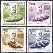 Hungary 1988 Zeppelin  /  Aviation  /  Transport  /  Airship  /  Balloon  /  People 4v (n39861)
