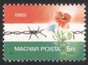 Hungary 1989 Border Fence/ Poppy/ Barbed Wire/ Military/ Flowers/ Plants 1v (n45565)