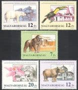 Hungary 1991 Polar Bear  /  Gorilla  /  Rhino  /  Toucan  /  Orchid  /  Animals  /  Nature 5v set n34969