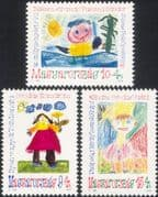 Hungary 1992 Youth Stamps/ Children's Art/ Painting/ Sun/ Flowers/ Costumes 3v set (n45431)