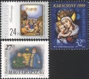 Hungary 1999 Christmas/ Greetings/ Art/ Paintings/ Stained Glass 3v set (hx1007)