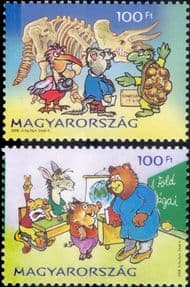 Hungary 2008 Youth Stamps/ Animation/ Bear/ Tortoise/ School/ Museum/ Dinosaur  2v set (hx1187)