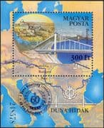Hungary 2014 Danube Commission 60th Anniversary/ Elizabeth Bridge/ Chain Bridge/ Transport/ Rivers/ Engineering 1v m/s o/p surcharge (n45137)
