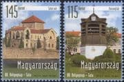 Hungary 2015 Tata Castle/ Bell Tower/ Clock/ Stamp Day/ Buildings 2v set (n45753)
