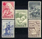 Iceland 1949 Red Cross  /  Medical  /  Nurse  /  Boat  /  Hospital  /  Health  /  Welfare 5v set n27723
