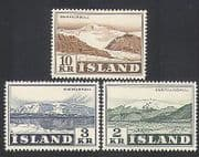 Iceland 1957 Views  /  Mountains  /  Glacier  /  Landscapes  /  Tourism 3v set (n34524)