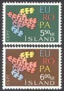 Iceland 1961 Europa/ Doves/ Birds/ Nature/ Peace/ Animation/ Design 2v set (n41360)