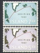 Iceland 1962 Telephone Cable  /  Communications  /  Telecomms  /  Map 2v set (n34500)