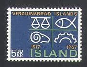 Iceland 1967 Commerce  /  Scales  /  Fish  /  Sheep  /  Cog  /  Industry  /  Business 1v (n36269)
