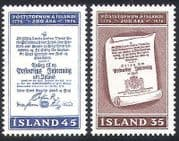 Iceland 1976 Postal Services Order  /  Post  /  Mail  /  Communications  /  History 2v (n36271)