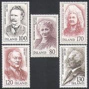 Iceland 1979 Composers  /  Writers  /  Music  /  Poetry  /  People  /  Religion 5v set (n34880)