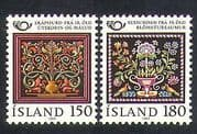 Iceland 1980 Postal Cooperation  /  Embroidery  /   Carving  /  Painting  /  Art  /  Craft 2v n37870