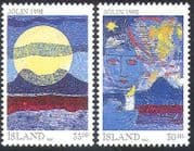 Iceland 1992 Christmas  /  Greetings  /  Candle  /  Moon  /  Fire  /  Mountains 2v set (n20274)