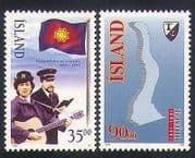 Iceland 1995 Salvation Army  /  Welfare  /  Guitar  /  Music  /  Fjord  /  Map 2v set (n34607)