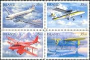 Iceland 1997  Mail Planes/ Aircraft/ Aviation/ Seaplanes/ Transport  4v set as blk (is1091)