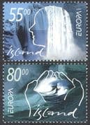 Iceland 2001 Europa/ Water Resources/ Waterfalls/ Falls/ Hands/ Wave 2v set (n41354)
