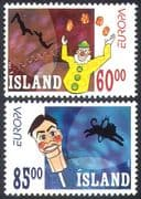 Iceland 2002 Europa  /  Circus  /  Clowns  /  Lion  /  Trapeze  /  Entertainment  /  Animation 2v b9314