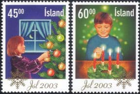 Iceland 2003 Christmas/ Greetings/ Tree/ Baubles/ Candles/ Animation 2v set (is1040)