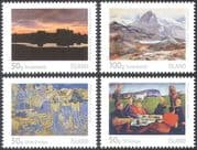 Iceland 2011 Art/ Paintings/ Artists/ People/ Mountain/ Sunset/  Horses 4v set (n42312)
