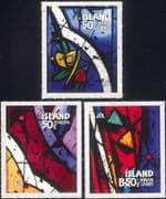Iceland 2013 Christmas/ Greetings/ Stained Glass/ Art/ Craft/ Roses 3v set s/a (is1085)