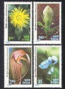 India 1983 Himalayan Flowers  /  Poppy  /  Lily  /  Plants  /  Nature  /  Conservation 4v set n39321