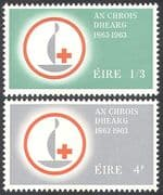 Ireland 1963 Red Cross Centenary/ Medical/ Health/ Welfare/ Candle 2v set (n27769)