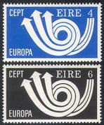 Ireland 1973 Europa/ CEPT/ Communication/ Posthorn/ Animation 2v set (n41309)